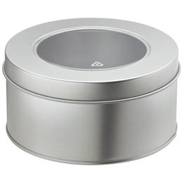 silver circular tin