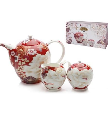 kimono red tea set