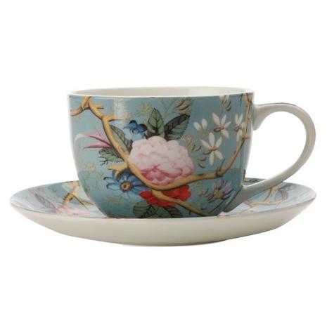 Victorian Garden Teacup and Saucer